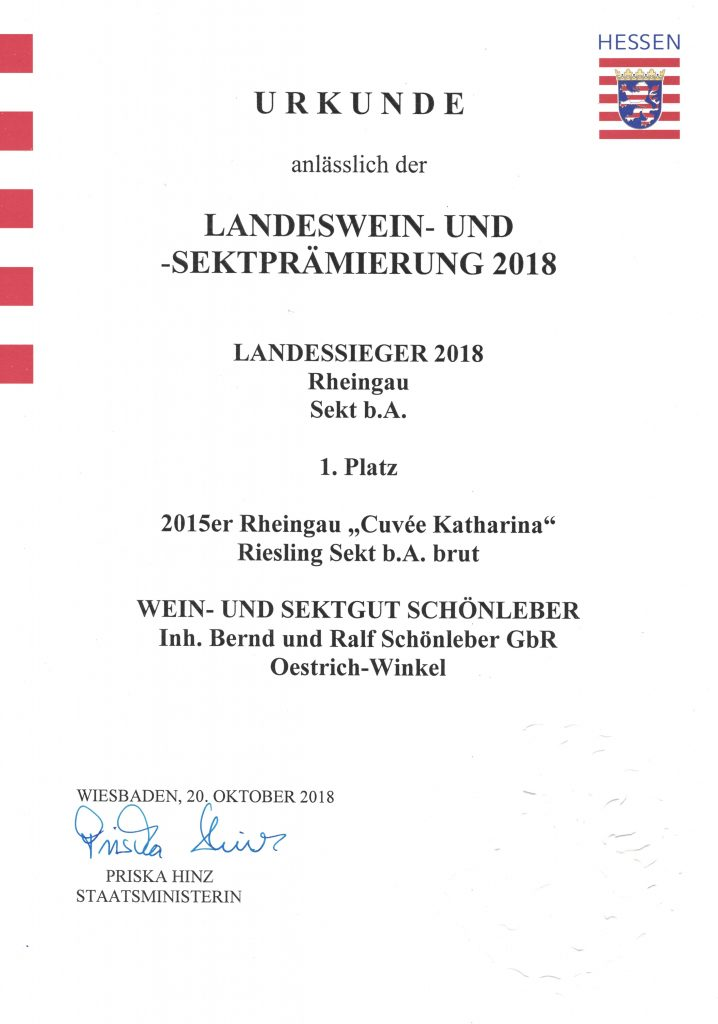 Landessektprämierung 2018 Cuvée Katharina auf Platz 1!